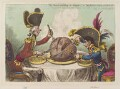 'The plumb-pudding in danger: - or - state epicures taking un petit souper' (William Pitt; Napoléon Bonaparte), by James Gillray, published by  Hannah Humphrey - NPG D12840