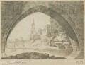 View of Old Blackfriars Bridge and St Mary's Church, by Dorning Rasbotham - NPG D18108