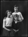 Margaret Constance Quinton (née Vesey); Bridget Georgiana (née Vesey), Lady Airey; John Eustace Vesey, by Bassano Ltd - NPG x123008