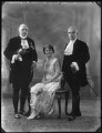 Robert Alderson Wright, Baron Wright; Beatrice Marion (née Hall), Viscountess Finlay; William Finlay, 2nd Viscount Finlay, by Bassano Ltd - NPG x123384