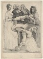 John Henley with five unknown figures, by Samuel Ireland, after  William Hogarth - NPG D18629