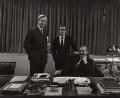 William Rees-Mogg, Baron Rees-Mogg; Harold Matthew Evans; Sir (Charles) Denis Hamilton, by Arnold Newman - NPG x22216