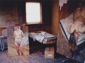 'Lucian Freud's studio with 'Naked Portrait Standing' and 'Night Portrait, Face Down'', by David Dawson - NPG x126306