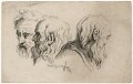 Three head studies, by Joseph Fussell - NPG D17051