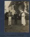 T.S. Eliot; Sir John Tresidder Sheppard; Maria Huxley (née Nys), by Lady Ottoline Morrell - NPG Ax140848