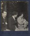 Hon. Robert Gathorne-Hardy; Kyrle Leng; Julian Vinogradoff (née Morrell) with her pug Soie, by Lady Ottoline Morrell - NPG Ax141490