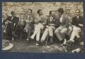 Gilbert Spencer; John Pilley; Kyrle Leng; L.P. Hartley; Peter Ralli; Hon. Robert Gathorne-Hardy; Jean de Menasce, by Lady Ottoline Morrell - NPG Ax141586